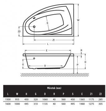 Wellis Matana akril balos sarokkád 160x100 cm AK00468