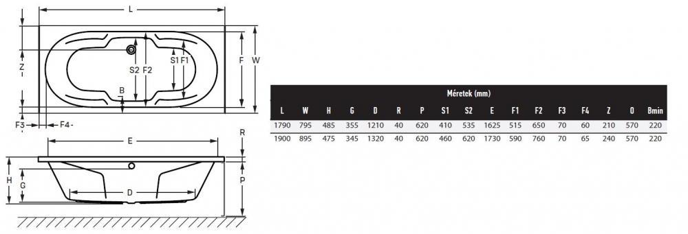 Wellis Michigan egyenes akril kád 190x90 cm AK00452