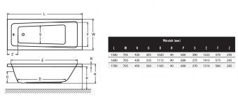 Wellis Lugano egyenes akril kád 160x70 cm AK00576