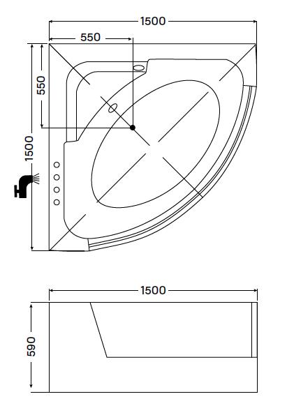 Wellis Teramo 150x150 cm színterápiás kád csappal