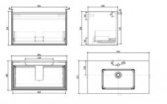 Wellis Tenebra 90 alsó fürdőszoba bútor