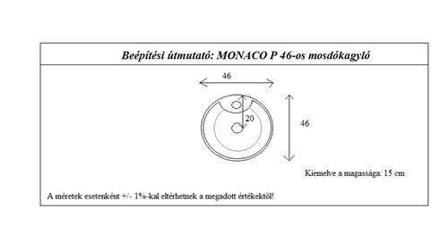 Monaco 46 cm mosdókagyló