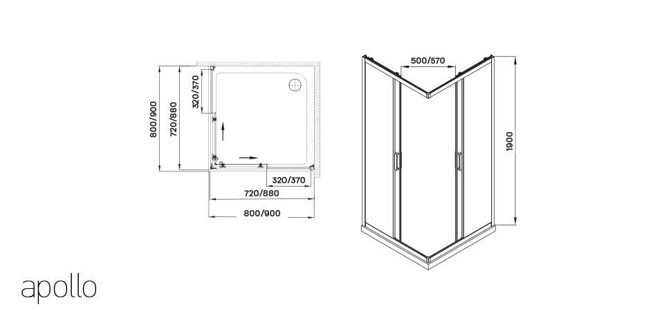 Wellis Apollo zuhanykabin 80x80x190 cm