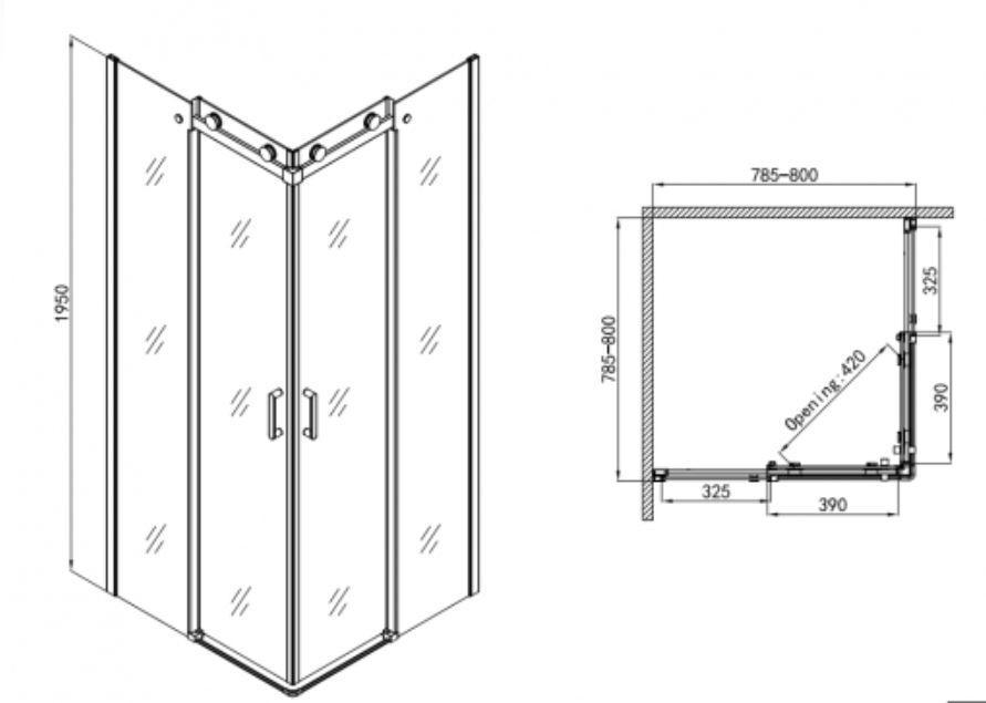 Sanotechnik ELEGANCE sarokkabin 2 tolóajtóval 80x80 cm N8080