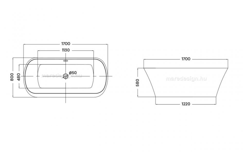 Wellis Alassio térkád 170x80 cm + Rundo Solo csap