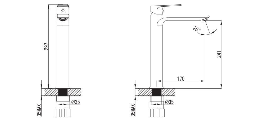 Wellis Asti magas mosdó csaptelep ACS0208