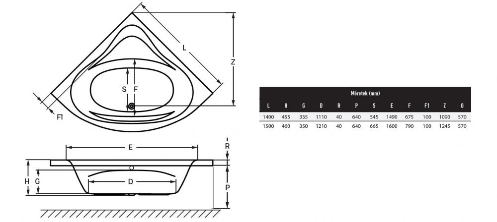 Wellis Bled sarokkád 140x140 cm