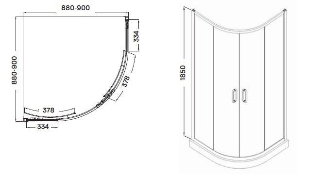 Wellis Caprera zuhanykabin 90x90x185 cm