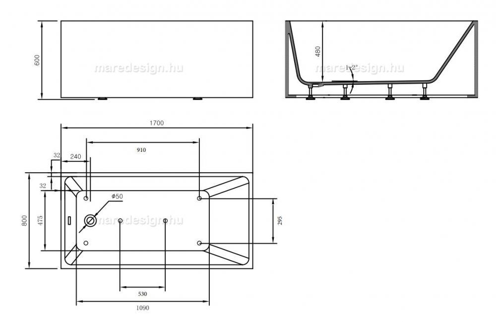 Wellis Flavia 170x80x60 cm térkád