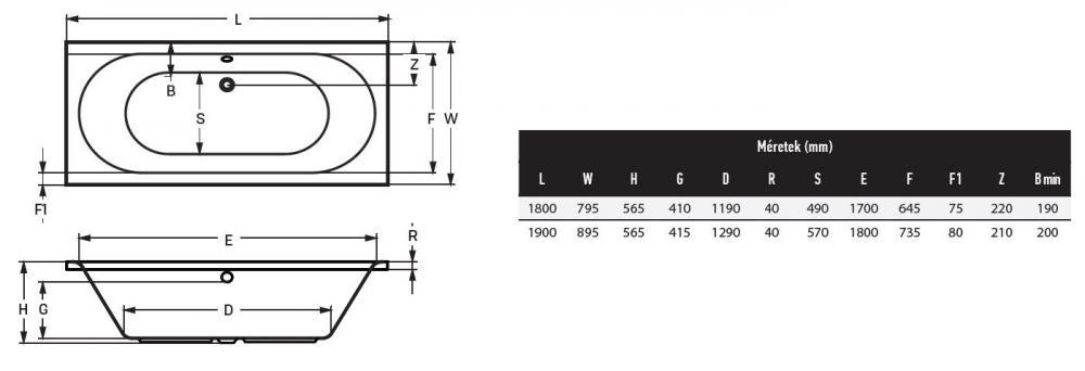 Wellis Ontario egyenes akril kád 180x80 cm AK00449