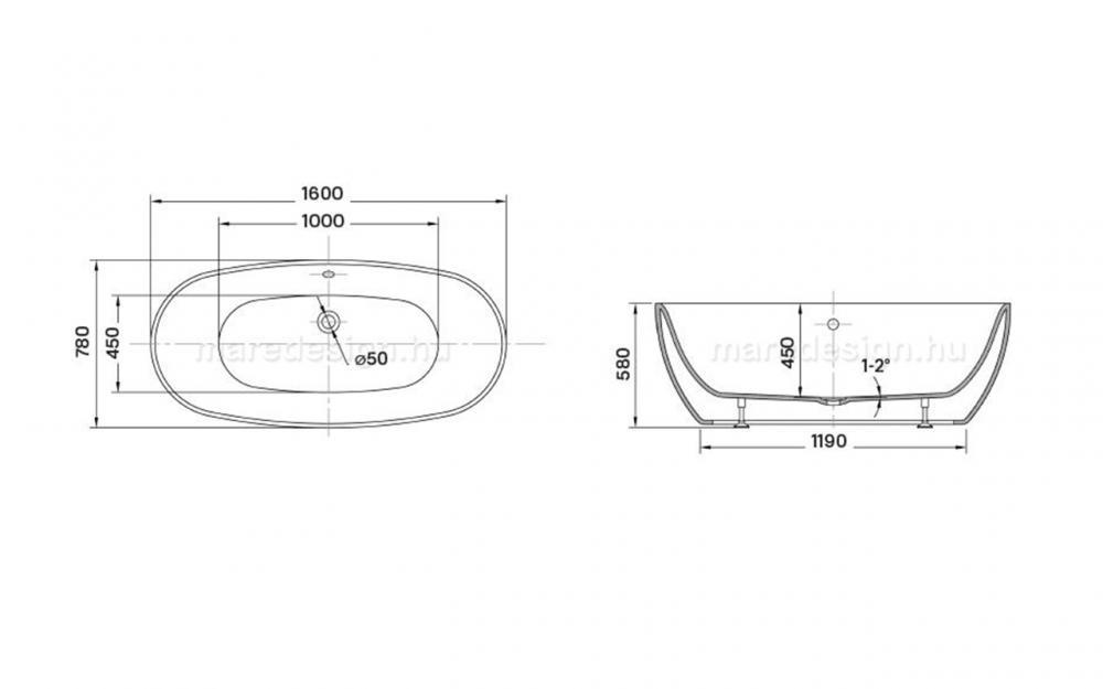 Wellis Oval 160x78x58 cm térkád WK00142