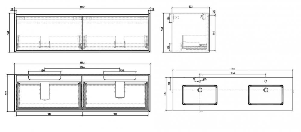 Wellis Tenebra 190 komplett fürdőszoba bútor