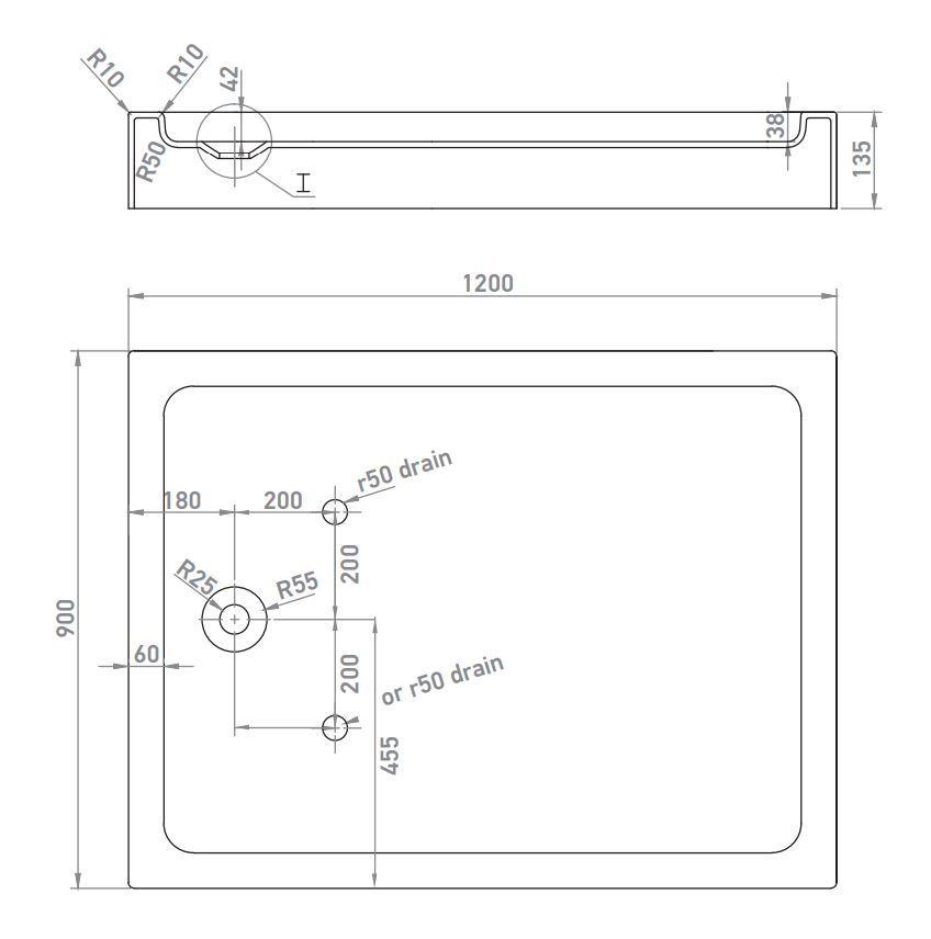 Wellis téglalap alakú magas zuhanytálca 120x90x13,5 cm