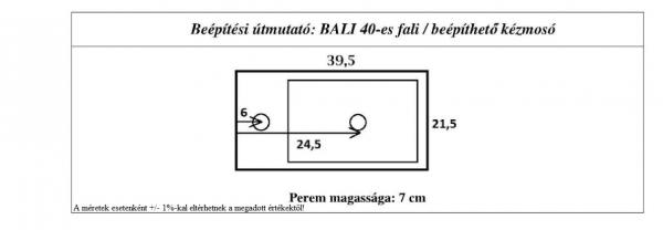 Bali 20x40 cm mosdókagyló