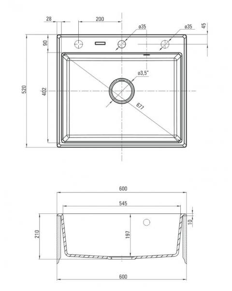 Deante Andante 1 medencés mosogató 60x52 cm ZQN1103