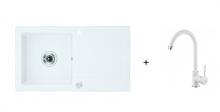 Deante Zorba szett - alabástrom fehér mosogató + fehér csaptelep ZQZ A113 + BEU W62M