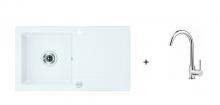 Deante Zorba szett - alabástrom fehér mosogató + króm csaptelep  ZQZ A113 + BCA 062M
