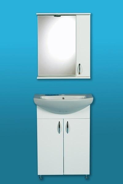 LIBRA 600 szekrény + Cersanit mosdó + Tükrös szekrény, vílágitással