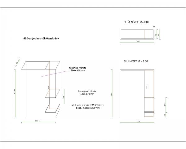 LIBRA 650 szekrény + Cersanit mosdó + Tükrös szekrény, vílágitással