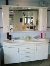 Long Island 150 cm komplett fürdőszoba szekrény, ikermosdóval