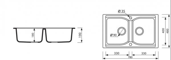 Marmorin Lukka 2 medencés mosogató + normál csaptelep