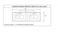 MonteCarlo 110 egyenes fürdőszoba szekrény, ikermosdóval