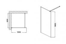 Wellis Astro 120 Walk-in corner zuhanyfal 120x190 cm