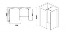 Wellis Astro 140 Walk-in sarokkabin 140x90 cm