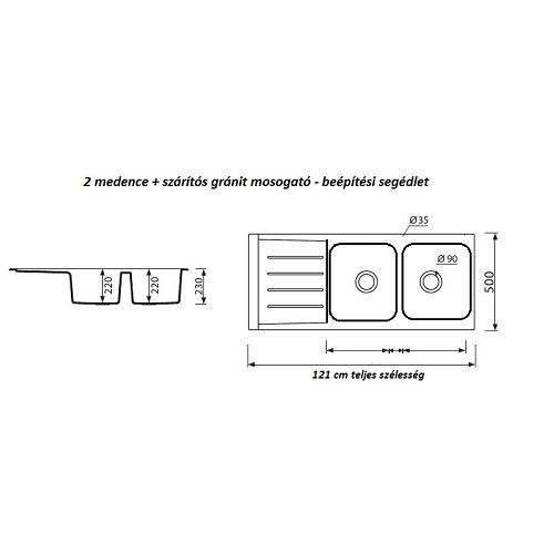 Niagara 2 medencés mosogató + szárító 121x50 cm N201