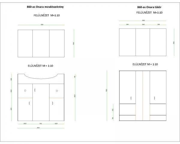 ONARA 860 szekrény mosdóval + tükrösszekrény világítással