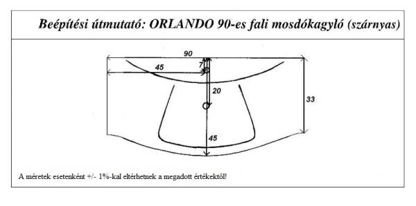 Orlando 90 cm mosdókagyló