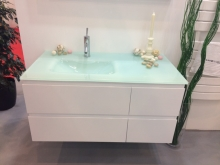 Sanotechnik CUBE 100 függesztett alsóbútor, üvegmosdóval
