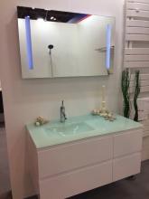 Sanotechnik Cube 100 komplett fürdőszoba bútor, üveg mosdóval