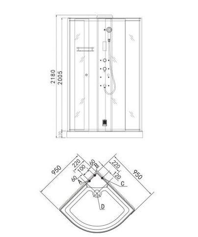 Sanotechnik Flamenco A806  gőz-zuhanykabin 95x95x218 cm