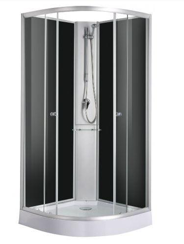 Sanotechnik RIO 90x90 cm komplett hátfalas zuhanykabin, fekete PS03B