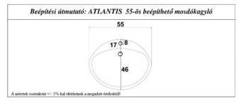 Atlantis 55 cm mosdókagyló