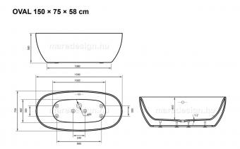 Oval 150x75 cm térkád + Rundo Solo csap