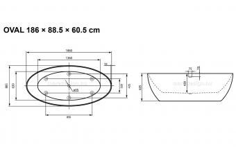 Oval 186x88 cm térkád + Rundo Solo csap