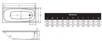 Wellis Como egyenes akril kád 160x70 cm AK00555