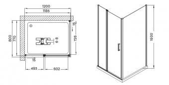 Wellis Triton Black zuhanykabin 120x80x190 cm