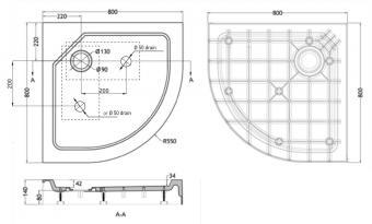 Wellis íves magas zuhanytálca 80x80x15 cm  WC00410