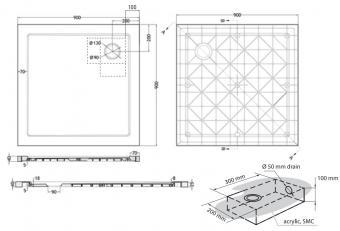 Wellis szögletes zuhanytálca 90x90x4 cm WC00408