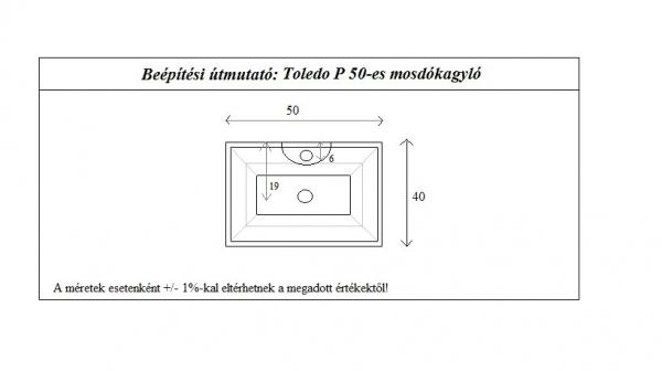 Toledo 50 cm mosdókagyló